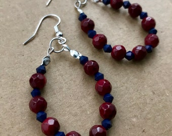 Red & Navy Beaded Dangle Earrings