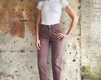 1980s Rust Brown Levis 560s Student Cut Orange Tab Slim Jeans 26