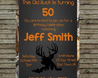 Old Buck Deer Hunting Camo Birthday Invitation