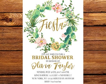 Fiesta bridal shower invitation cactus invitation fiesta fiesta bridal shower invitation cactus invitation fiesta invite printed bridal shower invitation filmwisefo Image collections