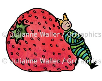 People with Food: Strawberry digital printable clipart
