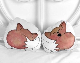 Small fox plush toy Stuffed animal pillow Fox plushie Gender neutral nursery decor Baby gift