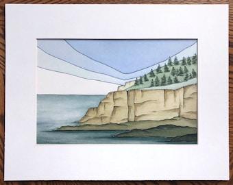 Acadia print, Otter Cliff, Watercolor print, Abstract watercolor, Abstract landscape, Acadia National Park, Maine