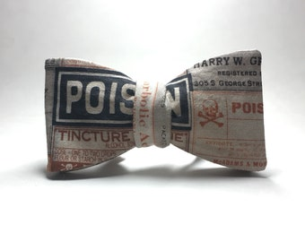 Vintage Poison Labels adjustable freestyle Bow Tie