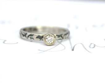 diamond engagement ring . unique ethical alternative engagement ring . handcrafted Canadian diamond engagement ring by peacesofindigo