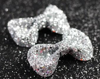 Silver Hair Clip Bows, Glitter, Hair Accessories, Cute Kawaii Bows