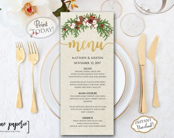 instant download wedding menu template christmas dinner printable menu holiday floral menu party menu editable menu card 0661