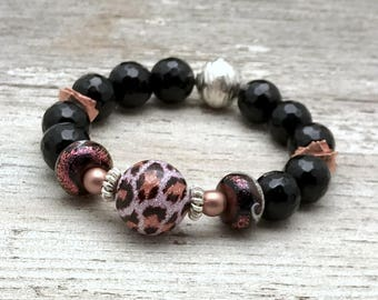 Pink and Black Animal Print Boho Chic  Beaded  Bracelet Luxe Glam for her Under 299, US Free Shipping Gift Wrap