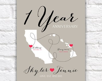 First Anniversary Gift, Paper Gift, 1 Year Together, Wedding and Honeymoon Maps, Custom Colors, Gift for Couple, Newlyweds, Hawaii | WF452