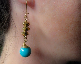 Blue chalcedony and gold toned antique styled earrings