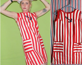 Retro Mid Century Womens Mod Nautical Striped Dress. Striped 70s Or 80s Mini Red And White Striped Anchor Dress. Vintage Striped Dress