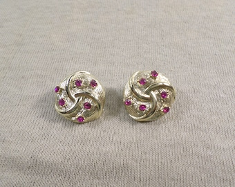 Vintage Gold Tone Round Clip On Earrings With Rhinestones DL# 4686