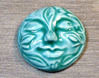 Large Leafy Face Ceramic Cabochon Stone in Seafoam