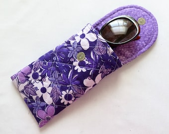 Glasses Case, Iphone 6 and 7 Plus,  Quilted Floral Print Purple