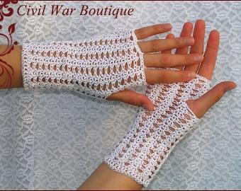 1800's Civil War Victorian Bridal White Handmade gloves PEARLS 100% cotton NEW Size S/M