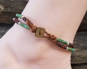 Beaded Leather Wrap Anklet Ankle Bracelet Seed Bead Leather Wrap Ankle Bracelet Bohemain Jewelry Beach Jewelry