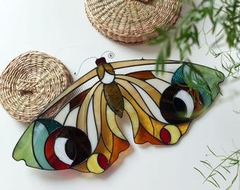 stained glass 'bigeye .moth' suncatcher    original design    natural colored glass    renter friendly