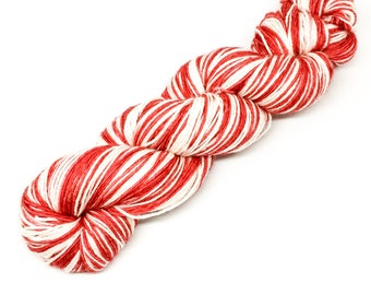 100g merino and nylon self striping sock yarn - stripy 4 ply yarn - hand dyed - red stripy yarn