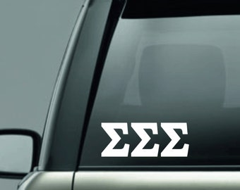 Sigma Sigma Sigma - tri sigma - Tri Sig - Greek Letters - Sorority Decal - Car Sticker - Car Decal - Cell phone sticker - Sorority Sticker