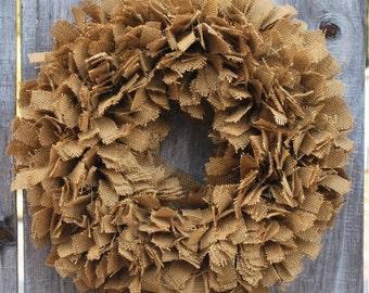 Burlap Fall Wreath, Everyday Wreath, Rustic Wreath, Thanksgiving Wreath, Farmhouse Decor, Autumn Wreath, Year Round Wreath