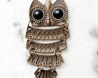 Owl Bird Necklace in Bronze Antique Gold Long Chain Charm Pendant Jewelry AH10038NBronze