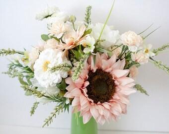 Sunflower Bouquet, Wildflower Bouquet, Wild Botanicals, Silk Flowers, Bridal Bouquet, Silk Bridal Bouquet, Blush Bouquet, Blush Wedding