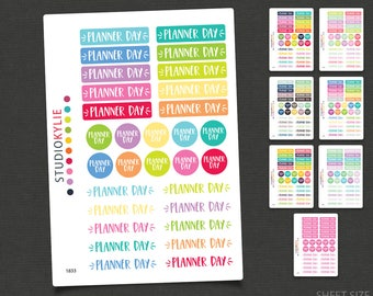 Planner Day Stickers - Repositionable Matte Vinyl