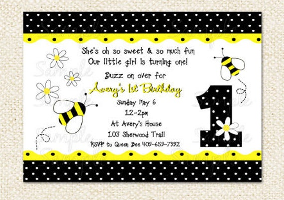 Bumble bee birthday invitations filmwisefo Images