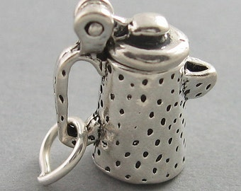 Sterling Silver 925 Charm Pendant 3D Graniteware COFFEE POT Movable 2871