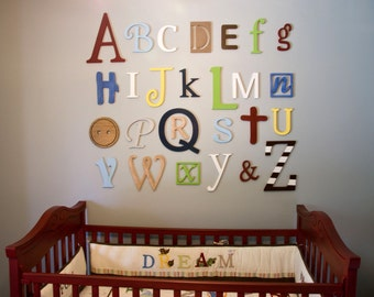 Wooden Alphabet Letters Set, Painted Wooden letters, Wall Hanging, Nursery Decor, Alphabet Wall, ABC Wall, Nursery Wall Art