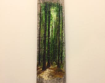 Reclaimed Barrel Stave: Quiet Woods oil painting