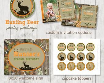 Hunting Deer Birthday Party Package - Deer Birthday - Deer Party - Hunting Birthday - Hunting Party - Camo Birthday- DIY Printable