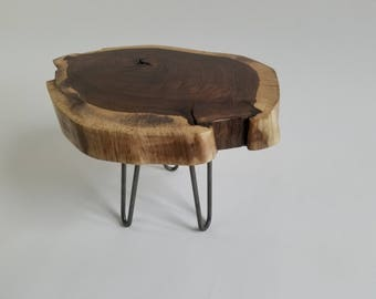 Walnut Lightning Struck Live Edge End Table