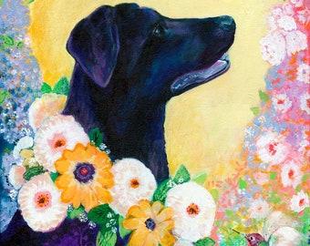 Lab Love in Yellow - Vivid Modern Fine Art Pet Portrait Dog Print by Jenlo