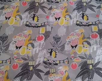 Moomin fabric satumuumi cotton grey and yellow moomins tillukka
