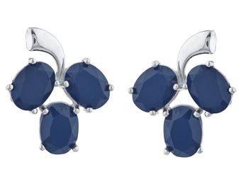 9 Ct Genuine Black Onyx Oval Shape Design Stud Earrings