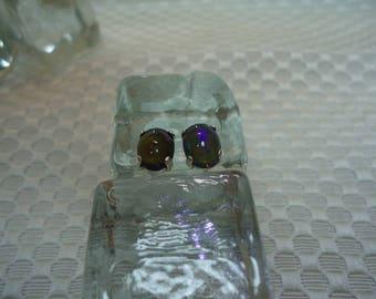 Oval Cabochon Ethiopian Fire Opal Earrings in Sterling Silver  #2087