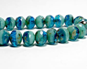 25pcs, Blue Turquoise Picasso, Czech Glass Rondelle Beads, 7x5mm, DIY Jewelry, Bohemian Bead Supply