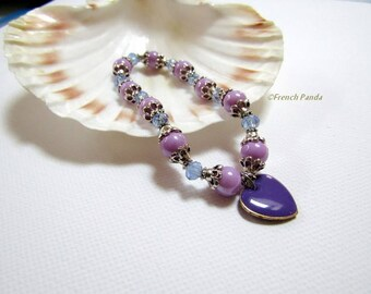 Purple and blue bracelet and its glazed pendant
