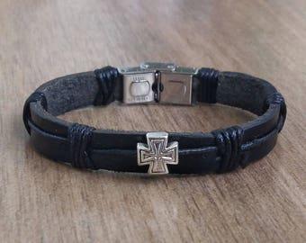 Mens Bracelet CROSS Men Leather Bracelet Mens Jewelry Men's Bracelet Husband Gift Boyfriend Gift for Men Bracelet Jewelry Present for Men