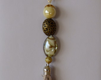 white and gold necklace Eve - Made in FRANCE