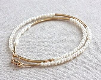 White Wrap Bracelet, Freshwater Pearl Bracelet, Gold Filled Jewelry, Beaded Wrap Bracelet, Handmade Beaded Jewelry, Designer Jewelry for Her