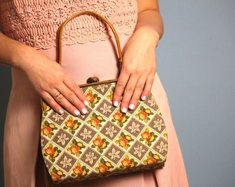 Vintage Fabric Floral pattern  purse
