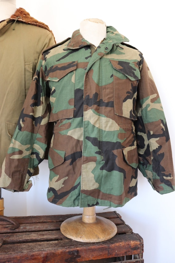 "Vintage 1980s 80s Alpha Industries US army woodland camo camouflage M-65 field jacket 38"" chest miltary"