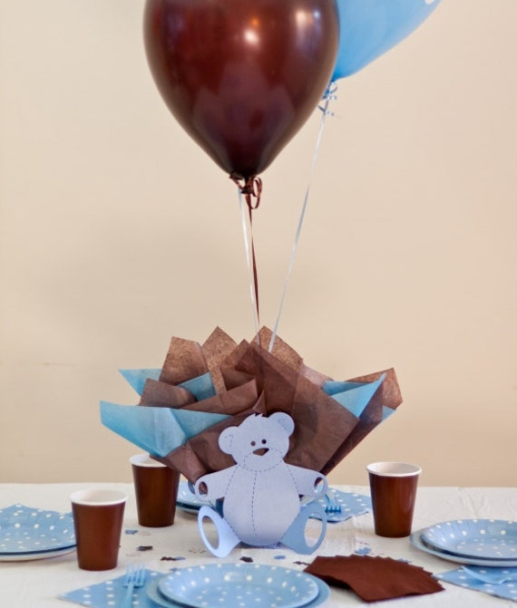 Items Similar To Brown Blue Baby Shower Decorations Teddy Bear