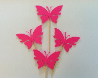 12 hot pink butterfly toppers, butterfly toppers, butterfly cupcake toppers