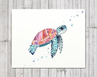Large Nursery Print, Sea Turtle Wall Decor, Sea Turtle Kids Decor, Large Turtle Canvas Print, Sea Turtle Art On Canvas, Sea Turtle Art Gift
