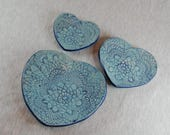 Shell, turquoise blue, 3 he set, crochet pattern, jewelry tray, pastry shell, candle plate, jewelry dish, 3 bowls, gift, unique