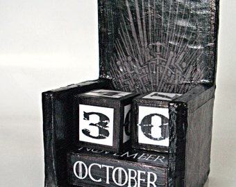 Game of Thrones inspired wooden perpetual calendar,  The Iron throne