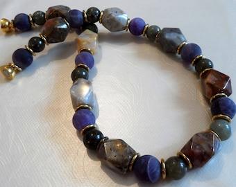 Multicolor Necklace design piece very apart, amethyst, labradorite, Landschaftsjaspis